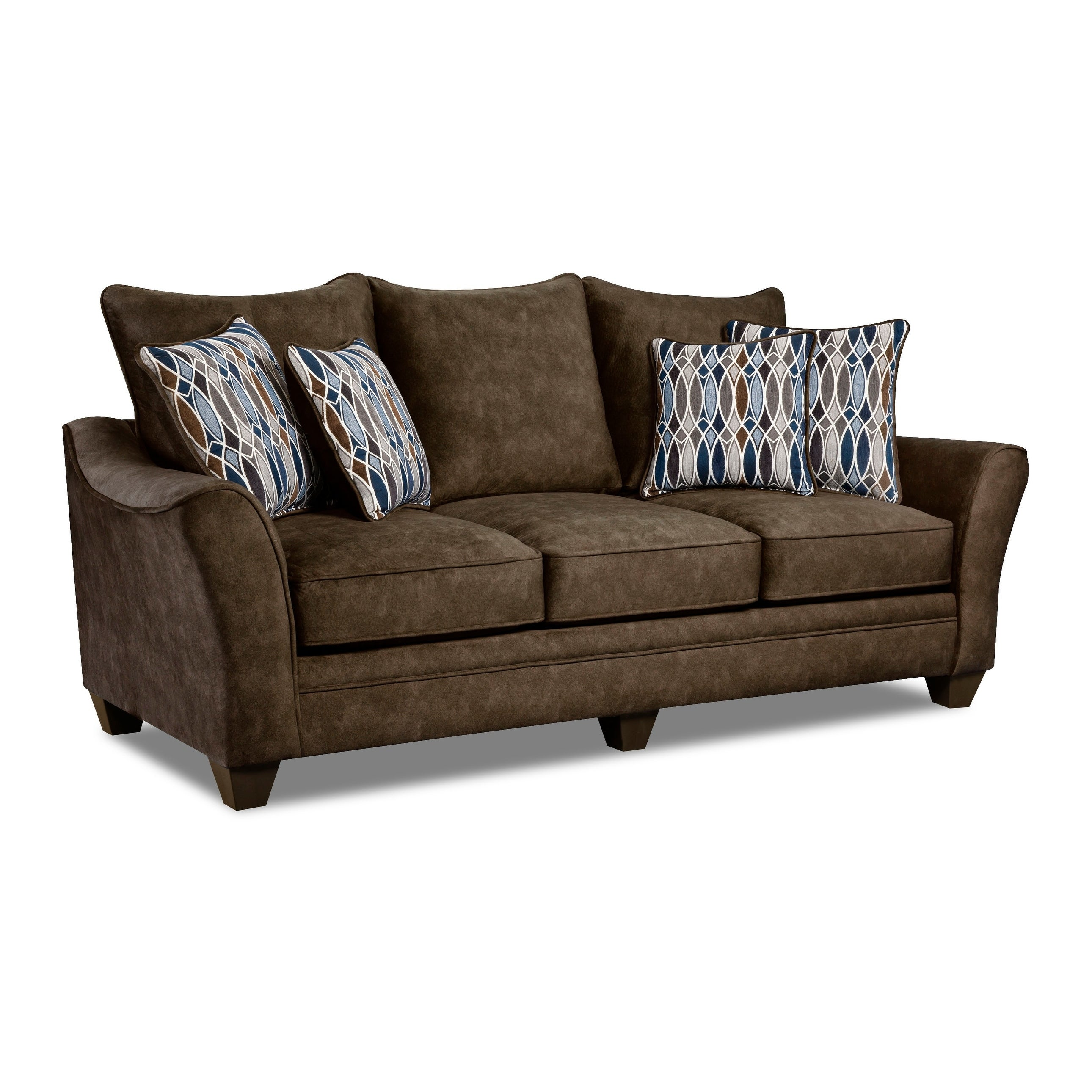 Kensington Faux Suede Sofa (Brown/ Grey/ Blue)