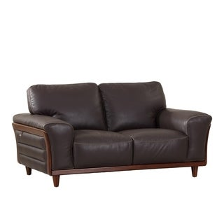 Modern Brown/ Beige Leather Upholstered Living Room Loveseat