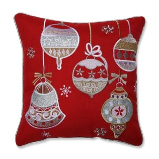 Sparkling Christmas Ornaments 16-inch Throw Pillow Red