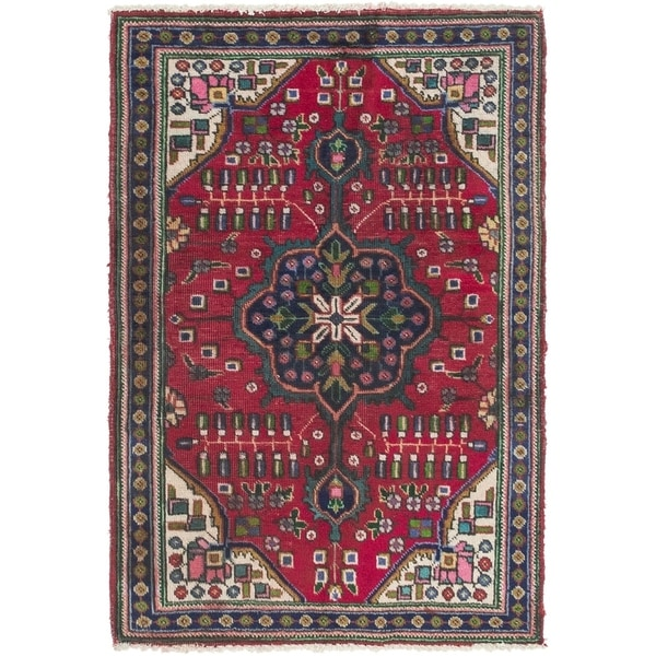 Hand Knotted Tabriz Semi Antique Wool Area Rug - 3' x 4' 9