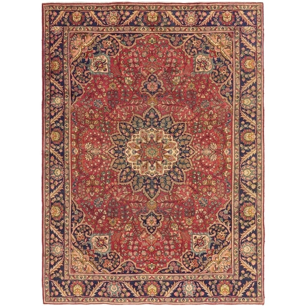Hand Knotted Tabriz Semi Antique Wool Area Rug - 9' 5 x 12' 10