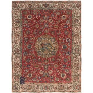 Hand Knotted Tabriz Antique Wool Area Rug - 9' 5 x 12' 3
