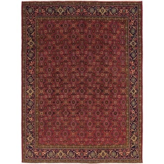 Hand Knotted Tabriz Semi Antique Wool Area Rug - 9' 9 x 12' 9