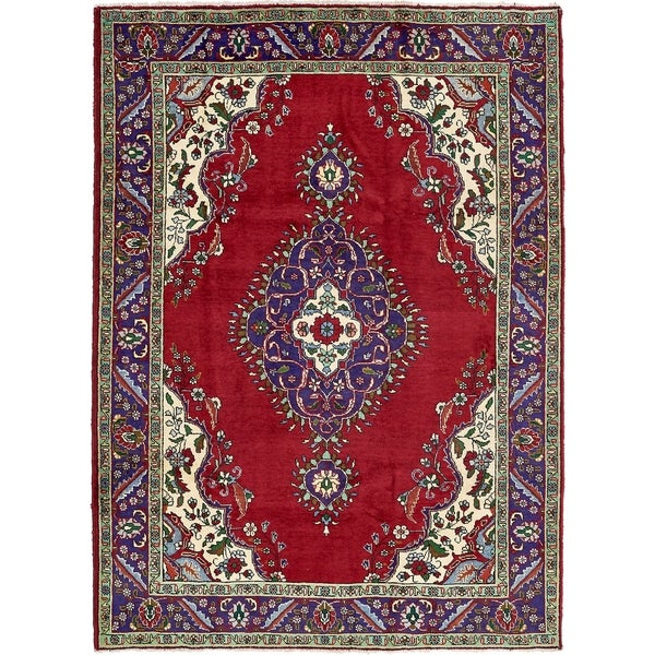 Hand Knotted Tabriz Semi Antique Wool Area Rug - 7' x 9' 8
