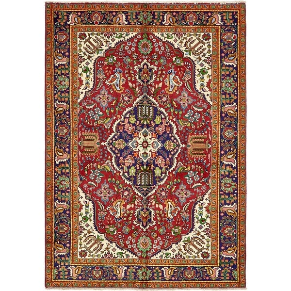 Hand Knotted Tabriz Wool Area Rug - 6' 6 x 9' 5