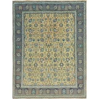 Hand Knotted Tabriz Semi Antique Wool Area Rug - 9' 10 x 12' 7
