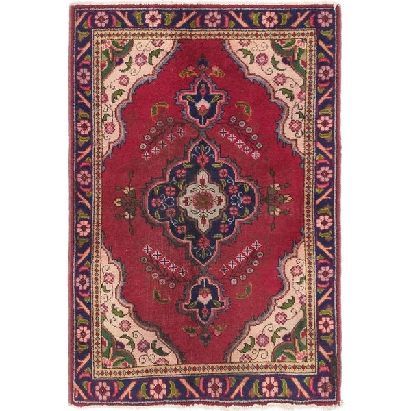 Hand Knotted Tabriz Semi Antique Wool Area Rug - 3' 3 x 4' 9