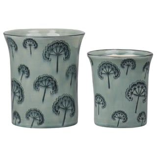 Urban Trends Ceramic Round Pot with Trumpet Rim Mouth and Printed Dandelion Pattern Body in Gloss Finish, Moss Green - Set of 2
