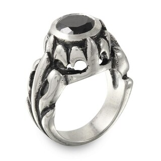 Sterling Silver FDL Ring with Black Stone