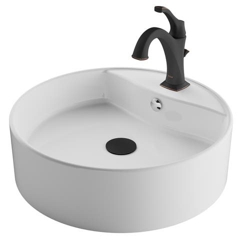 Kraus 3-in-1 Bathroom Set C-KCV-142-1201 White Ceramic Round Vessel Sink, Arlo 1-Hole Faucet, Lift Rod Drain, 4 finish