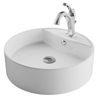 Kraus 3-in-1 Bathroom Set C-KCV-142-1201 White Ceramic Round Vessel Sink, Arlo 1-Hole Faucet, Lift Rod Drain, 4 finish