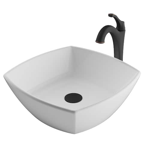 Kraus 3-in-1 Bathroom Set C-KCV-126-1200 White Ceramic Square Vessel Sink, Arlo 1-Hole Faucet, Pop Up Drain, 4 finish