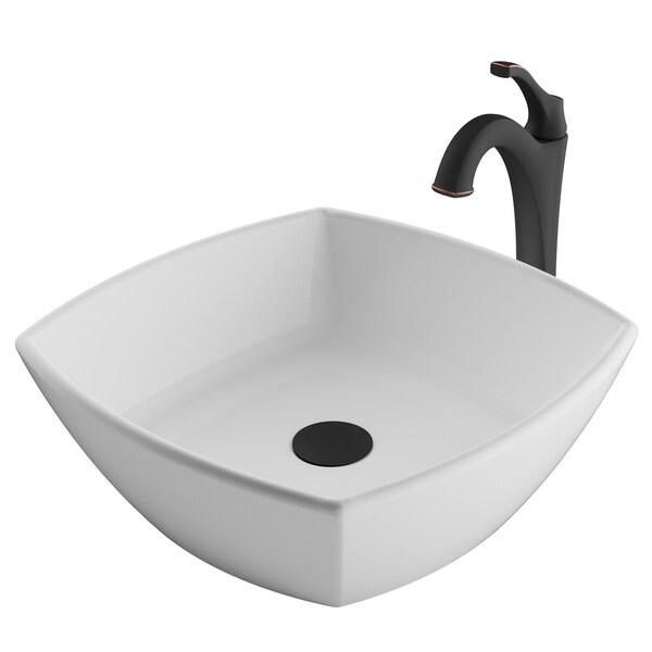 Kraus 3-in-1 Bathroom Set C-KCV-126-1200 White Ceramic Square Vessel Sink, Arlo 1-Hole Faucet, Pop Up Drain, 4 finish