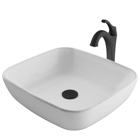 Kraus 3-in-1 Bathroom Set C-KCV-127-1200 White Ceramic Rectangle Vessel Sink, Arlo 1-Hole Faucet, Pop Up Drain, 4 finish