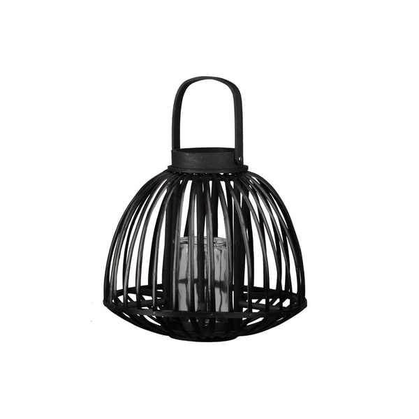 Urban Trends Collection: Bamboo Lantern Coated Finish Black 12.5""