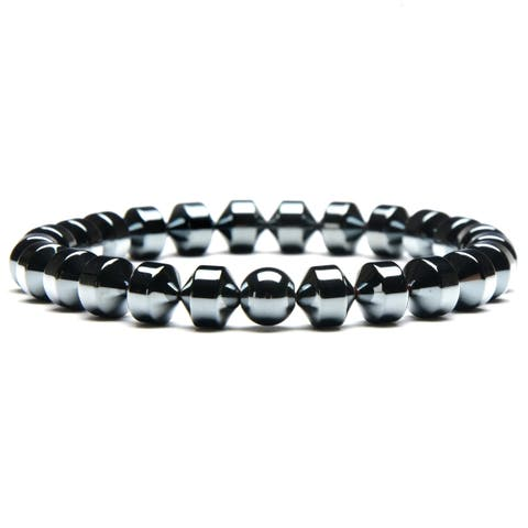 Hematite Stone Beaded Stretch Bracelet (8mm)
