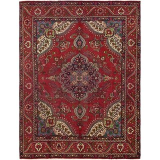 Hand Knotted Tabriz Semi Antique Wool Area Rug - 9' 7 x 12' 8