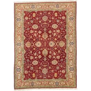 Hand Knotted Tabriz Semi Antique Wool Area Rug - 9' 9 x 13' 4