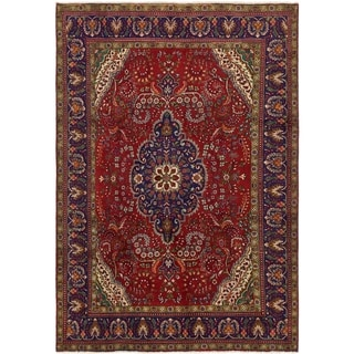 Hand Knotted Tabriz Wool Area Rug - 6' 9 x 9' 7