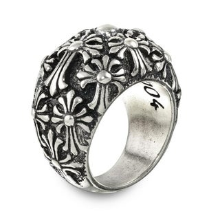 Sterling Silver Multi Cross Dome Ring