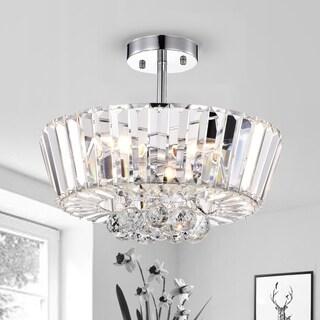 Sero Crystal 16-inch 4-Light Chrome Semi-Flush Mount