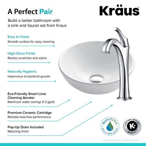 Kraus 3-in-1 Bathroom Set C-KCV-341-1200 White Ceramic Round Vessel Sink, Arlo 1-Hole Faucet, Pop Up Drain, 4 finish