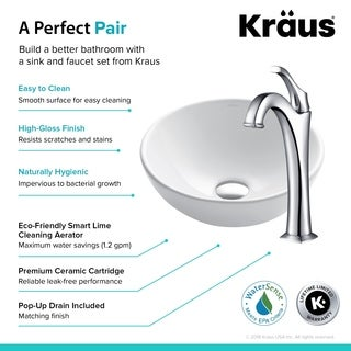 Kraus 3-in-1 Bathroom Set C-KCV-341-1200 White Ceramic Round Vessel Sink, Arlo 1-Hole Faucet, Pop Up Drain, 4 finish