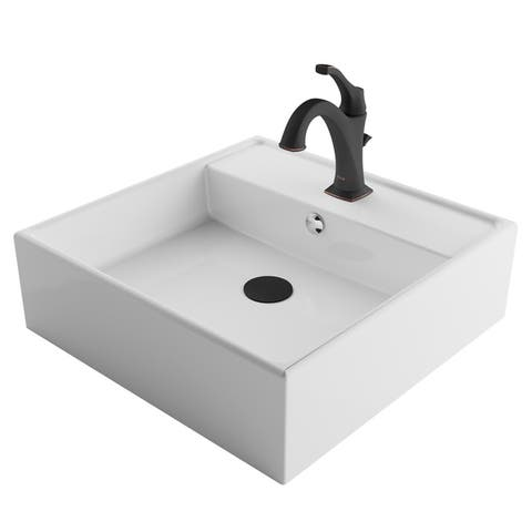 Kraus 3-in-1 Bathroom Set C-KCV-150-1201 White Ceramic Square Vessel Sink, Arlo 1-Hole Faucet, Lift Rod Drain, 4 finish