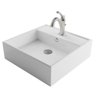 Kraus 3-in-1 Bathroom Set C-KCV-150-1201 White Ceramic Square Vessel Sink, Arlo 1-Hole Faucet, Lift Rod Drain, 4 finish
