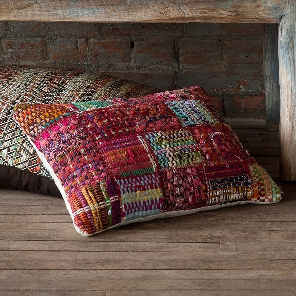 Woven Red Multi Patchwork Wool/ Cotton 13 x 21 Throw Pillow