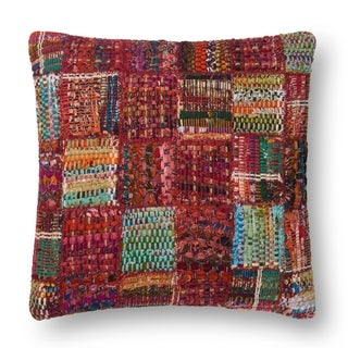 Woven Red Multi Patchwork Wool/ Cotton 22-inch Throw Pillow
