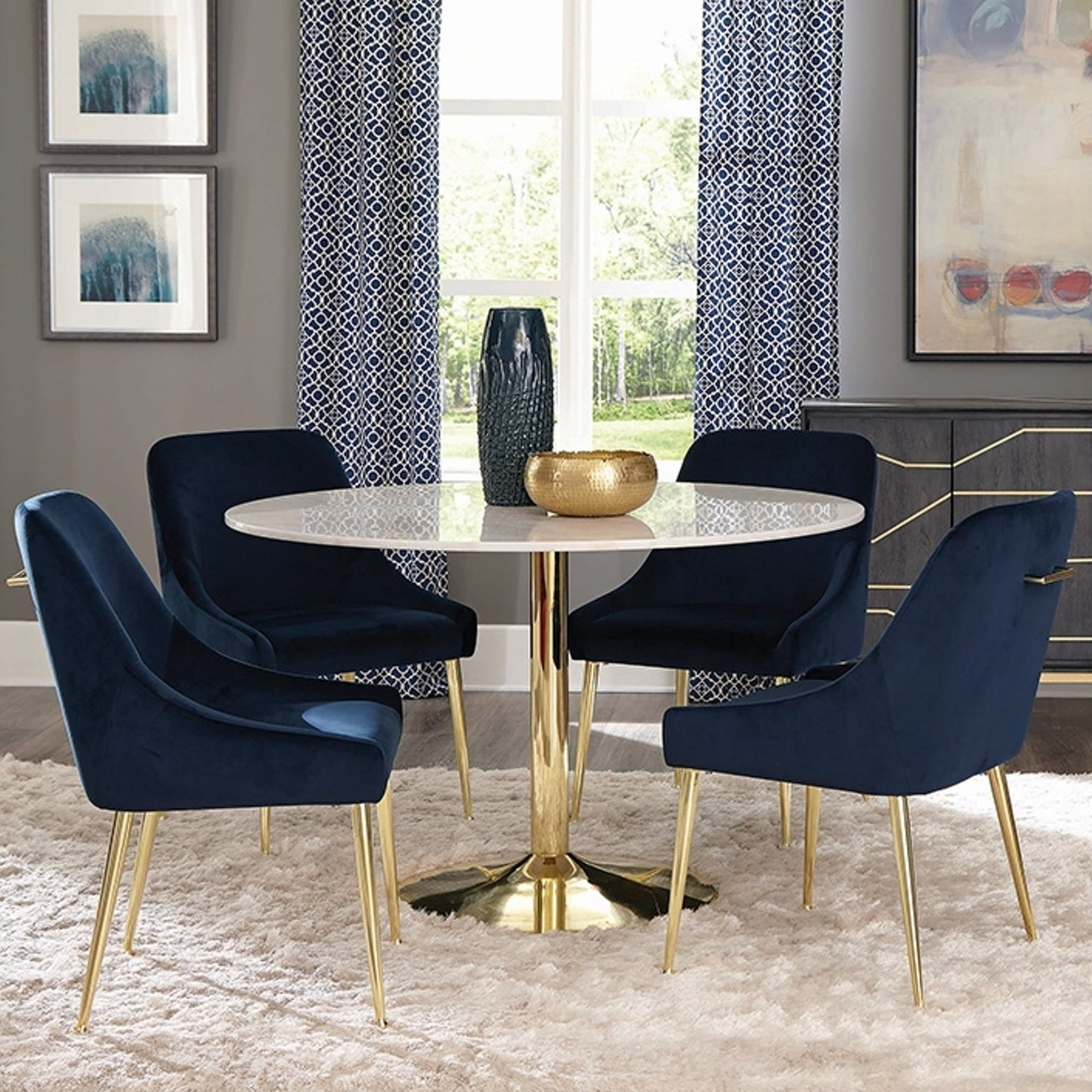 Marble And Brass 5 Piece Round Dining Set With Blue Velvet Chairs On Sale Overstock 24105914