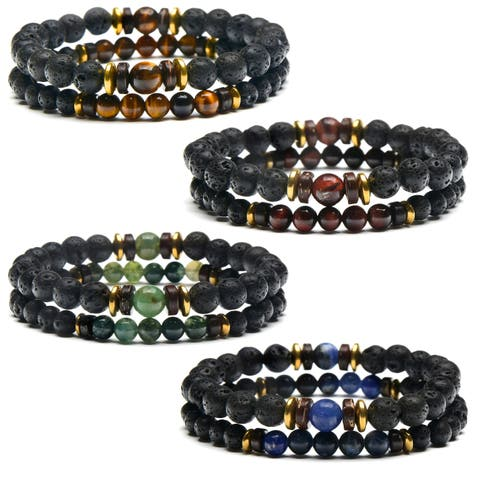 Lava, Hematite and Natural Stone Beaded Stretch Bracelet Set