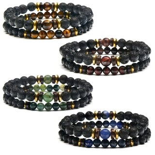 Lava, Hematite and Natural Stone Beaded Bracelet