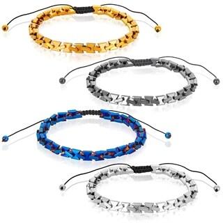 Color Plated Hematite Stone Adjustable Bracelet (6mm)