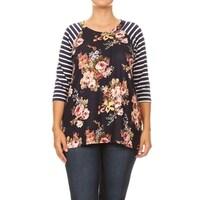 f2e1578c4bc Shop Women Plus Size Striped Sleeve Floral Printed Raglan Jersey ...