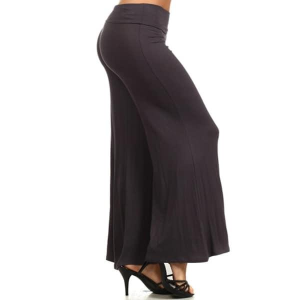 Women's Casual Basic Full Length Mid-Rise Solid Wide Leg Pants