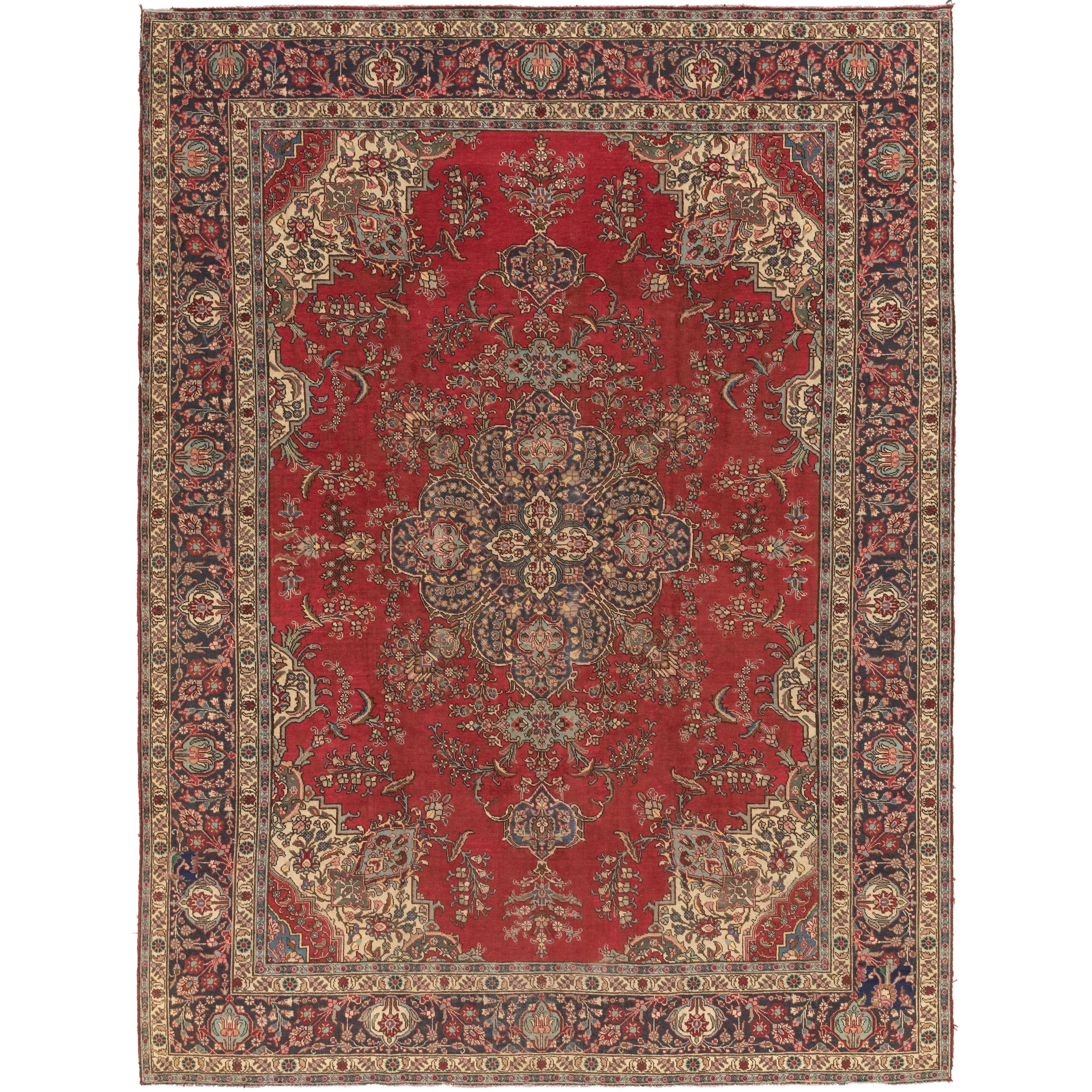 Hand Knotted Tabriz Semi Antique
