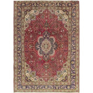 Hand Knotted Tabriz Semi Antique Wool Area Rug - 8' 2 x 11' 6