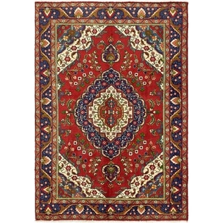Hand Knotted Tabriz Semi Antique Wool Area Rug - 6' 8 x 9' 4