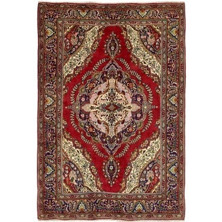 Hand Knotted Tabriz Semi Antique Wool Area Rug - 6' 5 x 9' 5