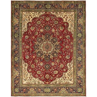 Hand Knotted Tabriz Semi Antique Wool Area Rug - 9' 8 x 12' 7