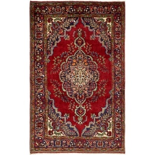 Hand Knotted Tabriz Semi Antique Wool Area Rug - 6' 5 x 10' 3