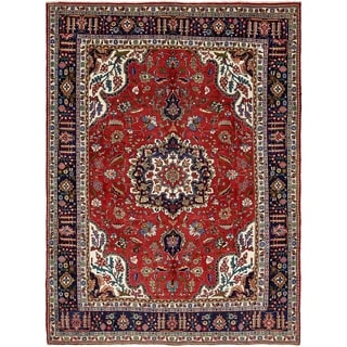 Hand Knotted Tabriz Semi Antique Wool Area Rug - 9' 5 x 12' 8