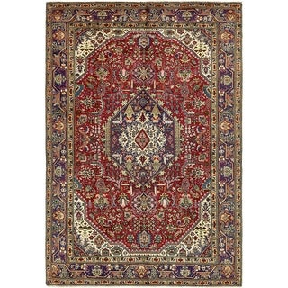 Hand Knotted Tabriz Wool Area Rug - 6' 8 x 10'
