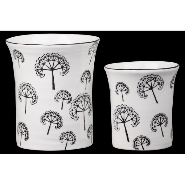 Urban Trends Ceramic Round Pot with Black Trumpet Rim Mouth, Printed Dandelion Pattern Body in Gloss Finish, White - Set of 2