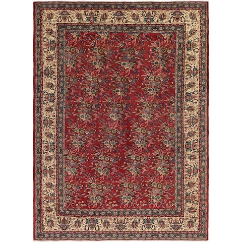 Hand Knotted Tabriz Semi Antique Wool Area Rug - 8' X 11'