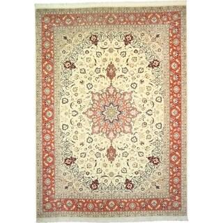 Hand Knotted Tabriz Silk & Wool Area Rug - 8' 3 x 11' 6