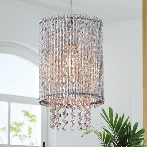 Crystallo 8-inch Chrome 1-Light Drapped Crystal Cylinder Chrome Chandelier