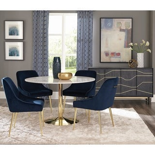 Marble and Brass Round Dining Set with Blue Velvet Chairs and Matching Buffet Server